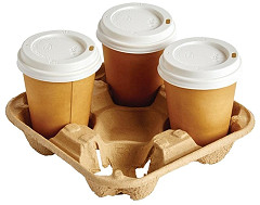 Gastronoble Disposable Cup Carry Trays 4 Cup (Pack of 180)